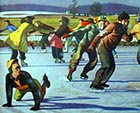 A painting of the iconic Midwest scene of skaters sporting on a frozen lake. This is a scene that has never been seen in the Willamette Valley of Oregon ... except for that one time, in 1949.