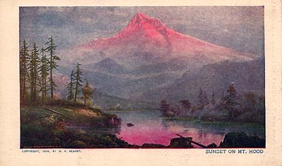 "This postcard image of sunset over Mount Hood bears a copyright date of 1904. On the back, the card reads, ""Compliments of the New York Sunday American and Journal."""