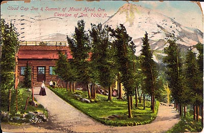 This image of Cloud Cap Inn comes from a postcard mailed in 1909. It shows the little Cloud Cap Inn, the tiny predecessor to Timberline.