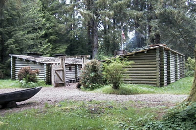 A photo of the reproduction of Fort Clatsop in the springtime. Source: www.oregon.gov.