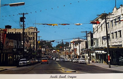Postcard image of downtown North Bend, circa 1960
