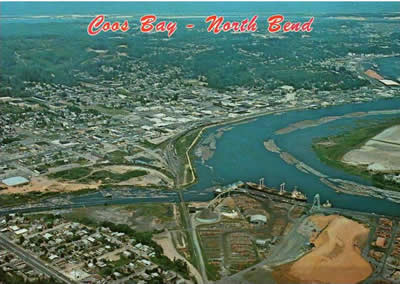 Postcard image of North Bend as seen from the air, circa 1975