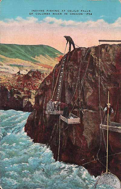 This image from a postcard, dating from the 1920s, shows Native Americans fishing at Celilo Falls.