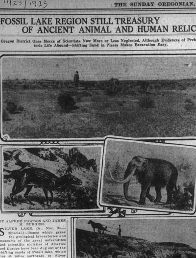 Newspaper article on Fossil Lake, 1923
