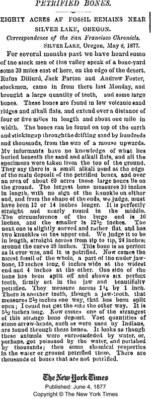 New York Times article on Fossil Lake, 1877
