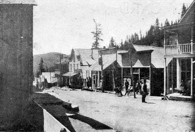 Downtown Bourne, Oregon, during the boom years of hard-rock gold mining and hard-core sucker swindling