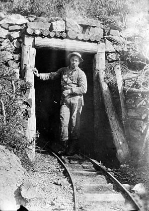 Bourne resident Lee Robinson standing in the upper entrance to the North Pole Mine near Bourne
