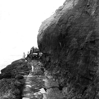 Model T Ford crossing Hug Point Road in the 1910s