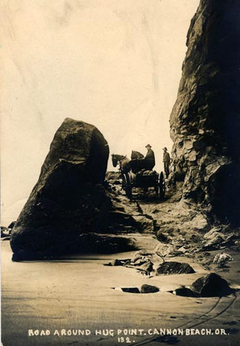Wagon and horse team crossing Hug Point Road at low tide