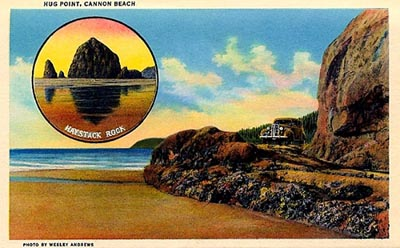 Postcard image of 1930s car crossing Hug Point Road
