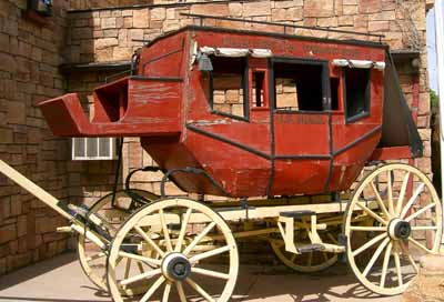 Wells Fargo Concord stagecoach on display in KEab, Utah