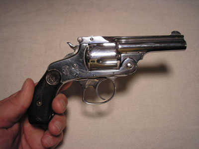 Nickel-plated .32-caliber Smith & Wesson pocket pistol