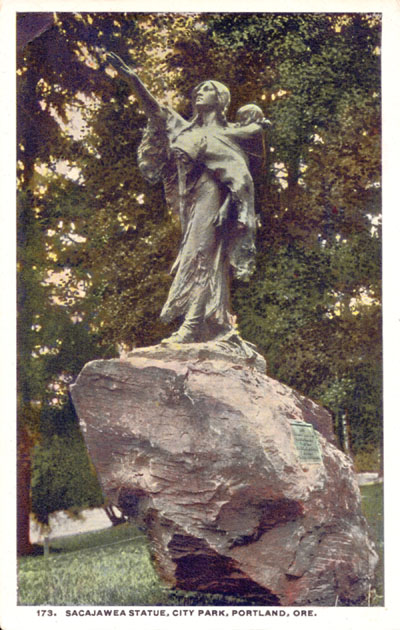 "An old postcard image of the statue of Sacagawea and her infant son Jean-Baptiste ""Pomp"" Charbonneau, in a Portland park."
