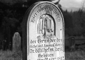 Aurora Colony founder and leader Dr. Wilhelm Keil is buried in Aurora beneath this simple, modest gravestone.