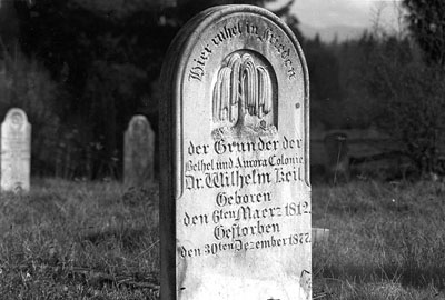 Wilhelm Keil's gravestone, in Aurora, is of a modest and unassuming size.