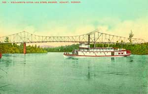 A shallow-draft sternwheeler of the type pioneered by Uriah B. Scott plies the swift currents of the Willamette River at Albany.