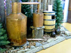 A mountain moonshine still on display at the McCreary County Museum in Stearns, Kentucky.