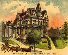 A color lithograph of George and Kate Ann Williams's Victorian  mansion, located at 18th and Couch streets downtown. This picture is from the mid-1890s.