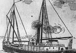 The West Coast steam schooner South Coast, drawn early in its long but fateful maritime career.