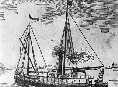 Line drawing of the then-new steam schooner South Coast, shortly after the little freighter had been fitted with a steam engine.