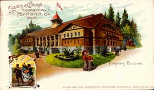 A souvenir postcard image of the Forestry Building from the 1905 Lewis and Clark Expo, probably from a sketch made before construction was complete.