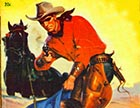 "The front cover of ""Masked Rider Western,"" a pulp magazine published during and after World War II. This particular piece of cover art depicts a fictional scene that looks surprisingly similar to what actually happened the night of the lynching that kicked off Vigilante rule in Crook County."