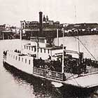 The Stark Street Ferry as it appeared in the 1870s. Twenty years earlier, when Mortimer Stump was murdered on the ferry's deck, it was a smaller craft, powered by mules on a treadmill.