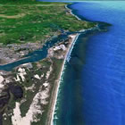 A Google Earth image of the beach on which the Captain Lincoln miraculously hit, at high tide, in the middle of a stormy January night, when its desperate skipper turned it landward for an emergency grounding.