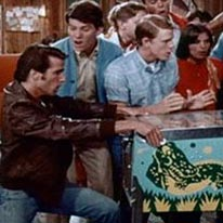 "A screen capture from an episode of ABC's legendary 1970s show ""Happy Days."" Because the show is set in 1950s Milwaukee, Wisc., ""The Fonz"" is actually breaking the law in this scene; pinball was outlawed in Milwaukee at the time."